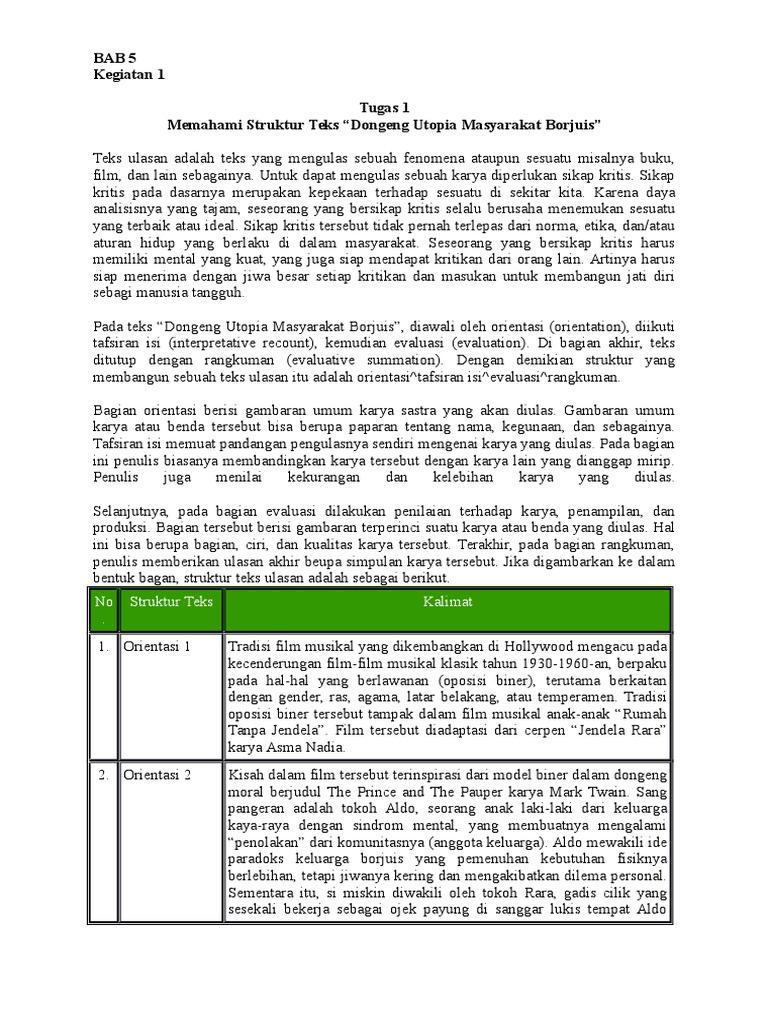 Bab 5 Mengulas Secara Kritis Film Dan Drama Docx