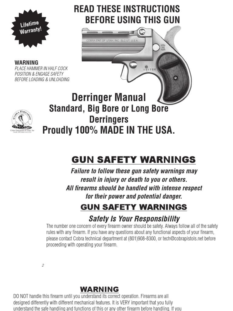 cobra bigborederringer manual pdf trigger firearms cartridge rh es scribd com cobra derringer disassembly cobra derringer 38 special manual
