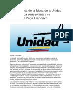 Carta abierta de la Mesa de la Unidad Democrática venezolana a su Santidad el Papa Francisco