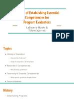 establishing essential competencies for program evaluators  1