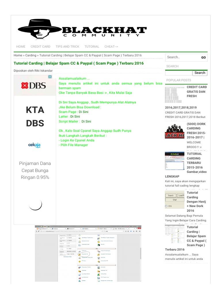 KTA DBS: Tutorial Carding   Belajar Spam CC & Paypal ( Scam