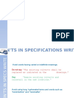 Don't's in Specifications Writing