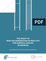 The Right To Non-Discrimination In Practice For Various Groups In Georgia - 2016 Report By The Coalition For Equality