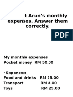 Look at Arun's Monthly Expenses