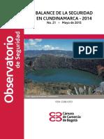 Balance de La Seguridad en Cundinamarca 2014