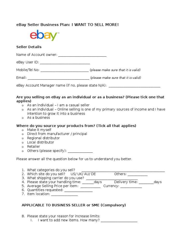 Business plan for ebay selling resume format teens
