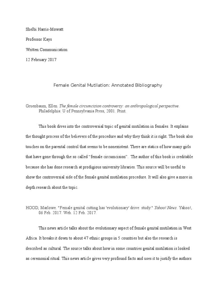 annotated bibliography on fgm