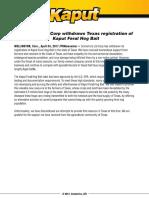 Scimetrics Ltd Press Release-Texas Withdrawal