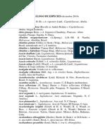 Catalogo de Especies Julio 2016