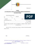 Formular 6 Cerere Comunicare Stadiu Solutionare Cerere de Redobandire a Cetateniei Romane 1