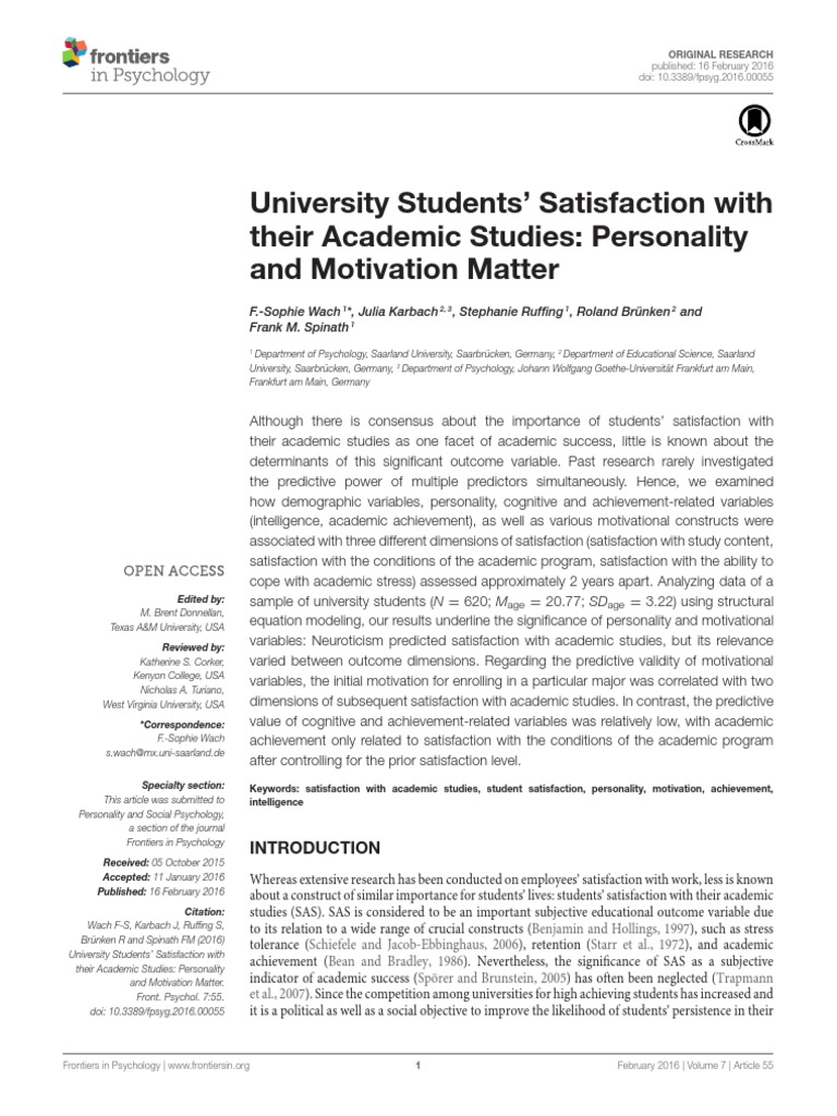 University Students' Satisfaction with their Academic