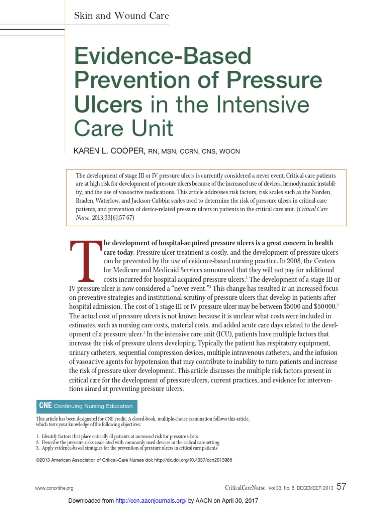 Evidence-Based Prevention of Pressure Ulcers in the