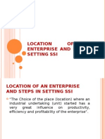 Location of Enterprise and Steps in Setting SSI