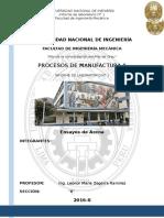 Procesos de Manufactura II - Ensayos de Arena