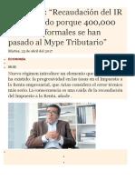 Nuevo Regimen Mype Tributario