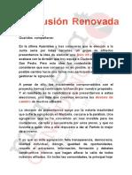 """Carta de presentación de la candidatura de  """"Ilusión Renovada"""""""