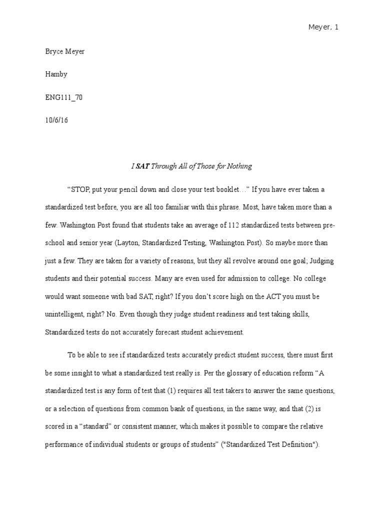 Argumentative essay standardized tests act test