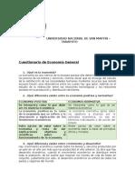 Cuestionario de Economía General