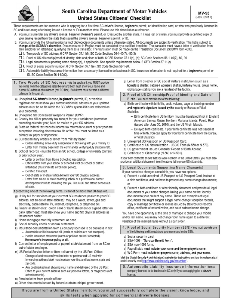 United States Citizens Checklist Scdmv Form Mv 93 Birth