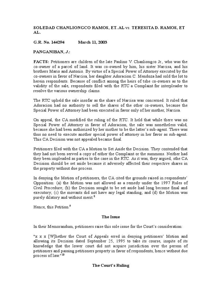8 ramos vs ramos rule 10 14 complaint lawsuit falaconquin
