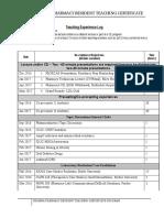 teaching experience log