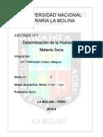 DETERMINACION DE HUMEDAD Y MATERIA SECA 2 =(