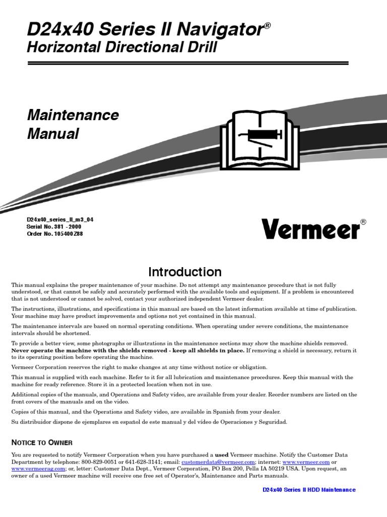 2440 Maintenance Book Leak Machines Vermeer Wiring Harness