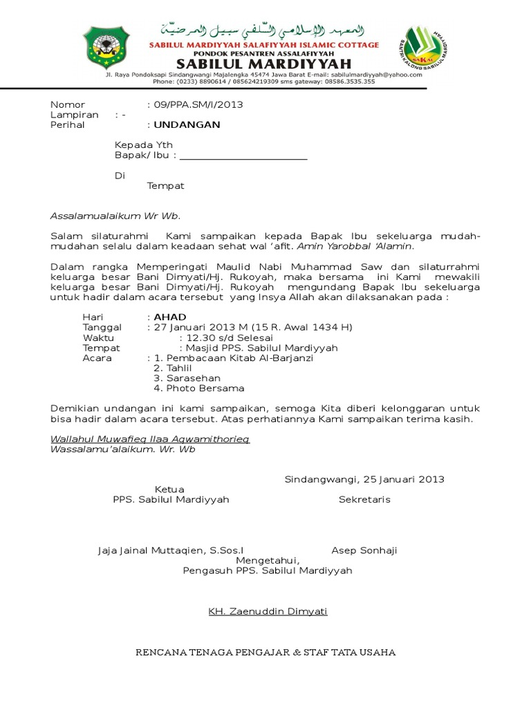Surat undangan maulid.doc