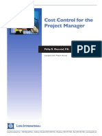 Long Intl Cost Control for the Project Manager