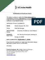 practicum verification letter