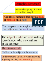 Complete Sentences Subject and Predicate