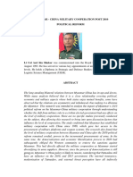 Myanmar - China Military Cooperation Post 2010 Political Reform