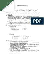 Experiment Worksheet Equilibrium