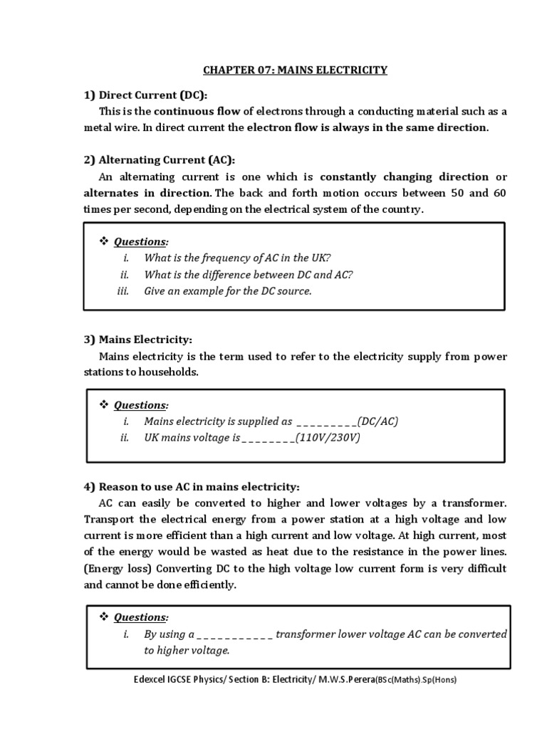 Chapter 07 Mains Electricity Alternating Current Versus Direct Physics