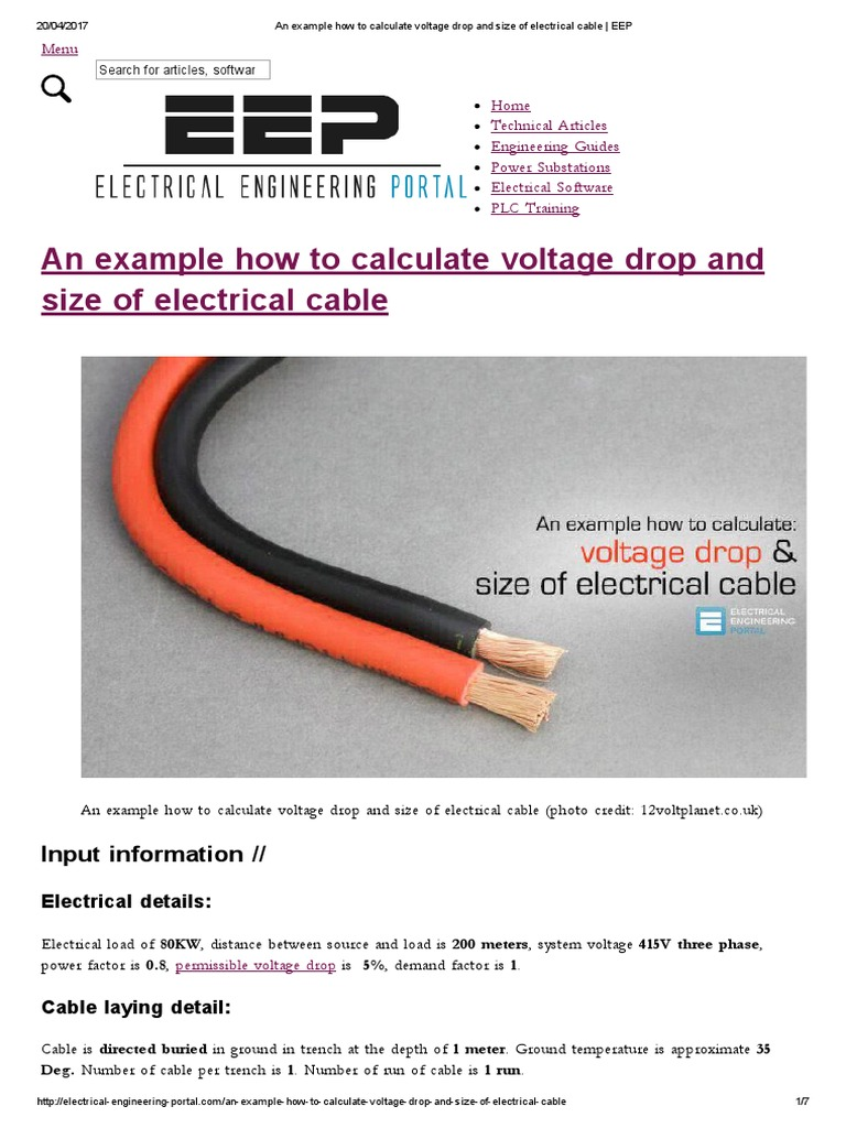 An Example How to Calculate Voltage Drop and Size of Electrical ...