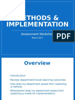 Department Assessment Workshop III - Methods Implementation