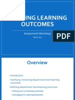 Department Assessment Workshop II - Defining Learning Outcomes