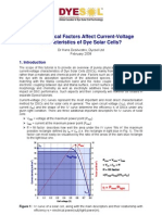 What Physical Factors Affect Current-Voltage Characteristics of Dye Solar Cells