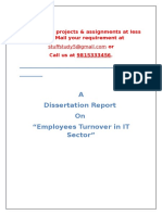 Sample Dissertation Report on Employees Turnover