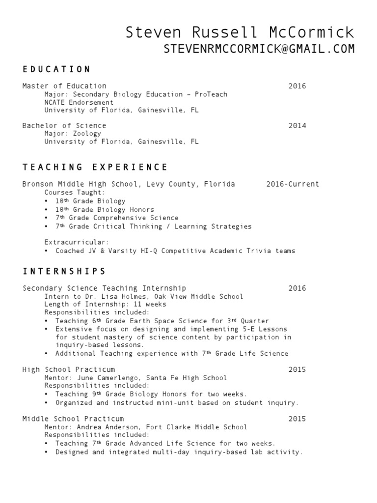 resume - steven mccormick 4-2017 weebly | Inquiry Based