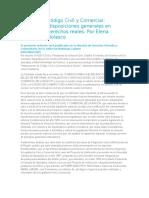 Reforma Al Código Civil y Comercial Principios y Disposiciones Generales en Materia de Derechos Reales. Por Elena Highton de Nolasco