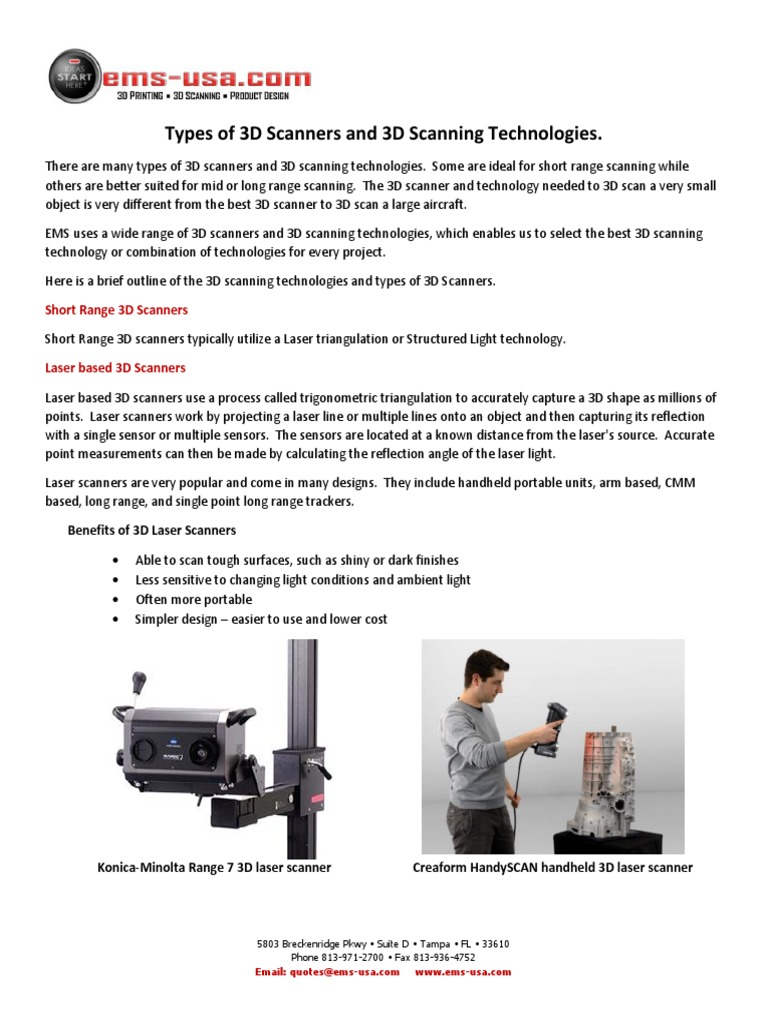 3D Scanning Technologies - An Overview | Image Scanner | Imaging