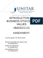 INTRODUCTION TO BUSINESS ETHICS AND   VALUES.docx