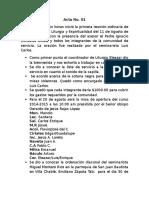 Acta No 1.