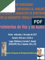 anuncio cernimientos de voz y audicion  2017