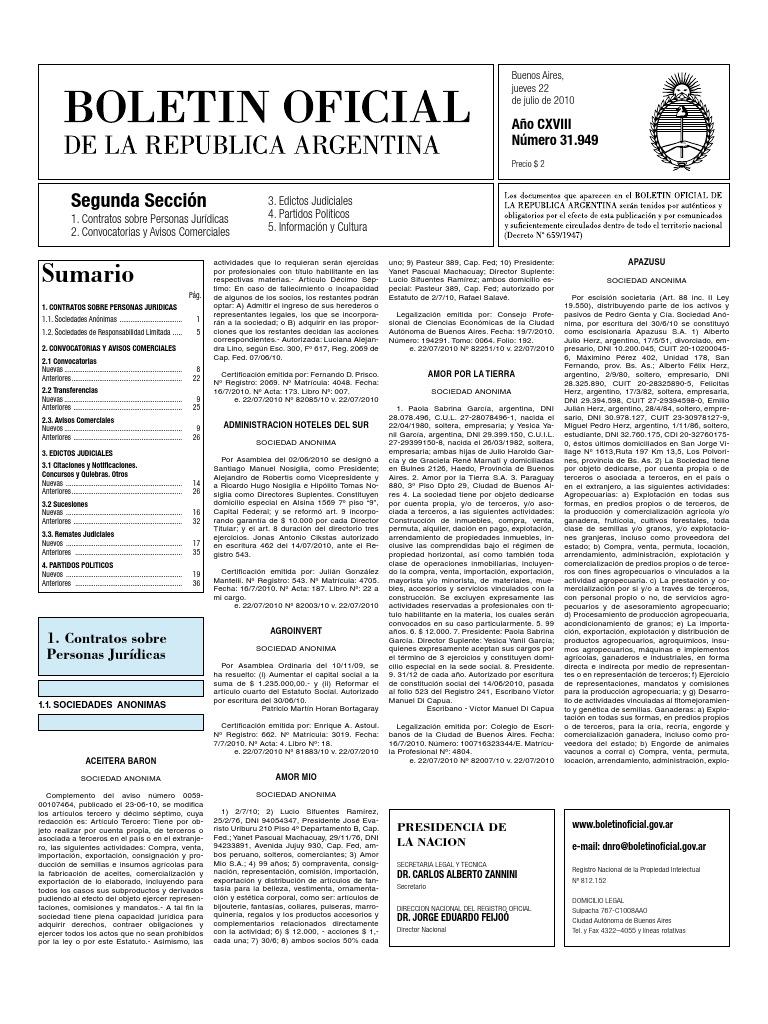 Boletin Oficial 22-07-10 - Segunda Seccion