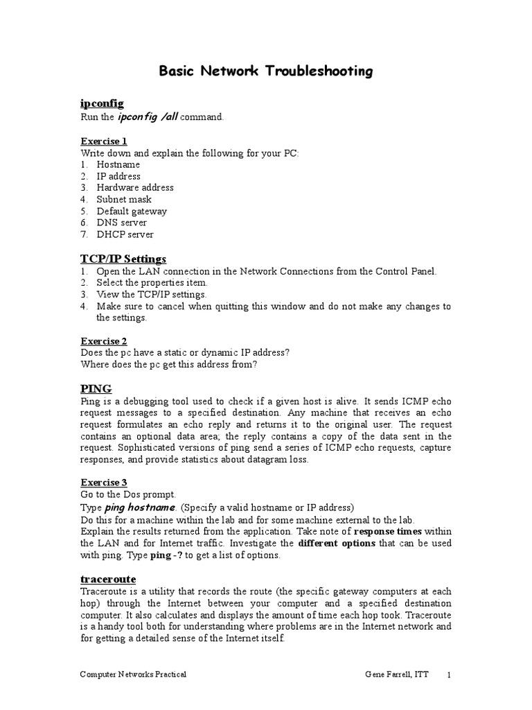 Lab 1 Basic Network Troubleshooting (1) | Ip Address | Transmission