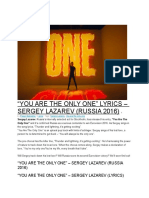 """""""You Are the Only One"""" – Sergey Lazarev (Russia 2016)"""