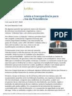 ConJur - É Preciso Ter Transparência Para Debater a Reforma Da Previdência