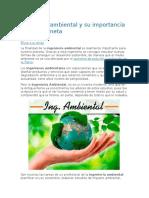 Ingeniería Ambiental y Su Importancia Para El Planeta
